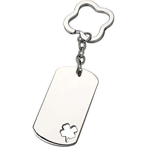Be Lucky Four Leaf Clover Key Chain | Nickle | Engraved  | Free Engraving