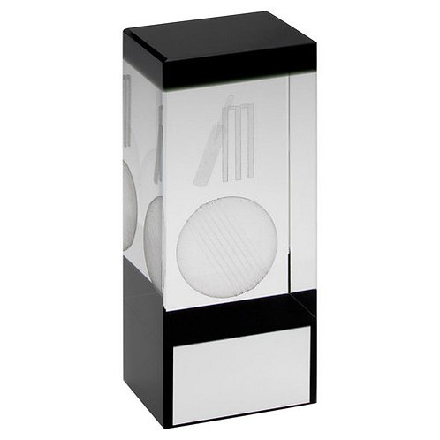 Clear/Black Glass Block With Lasered Cricket Image Trophy - 140 mm