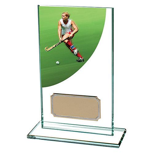 Colour Curve Hockey Jade Glass Award - 140mm