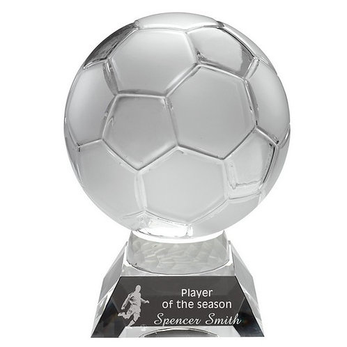 Clear/Frosted Glass Football On Base - 165 mm