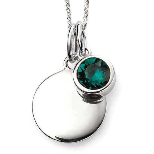 May Birthstone Pendant with engraved pendant