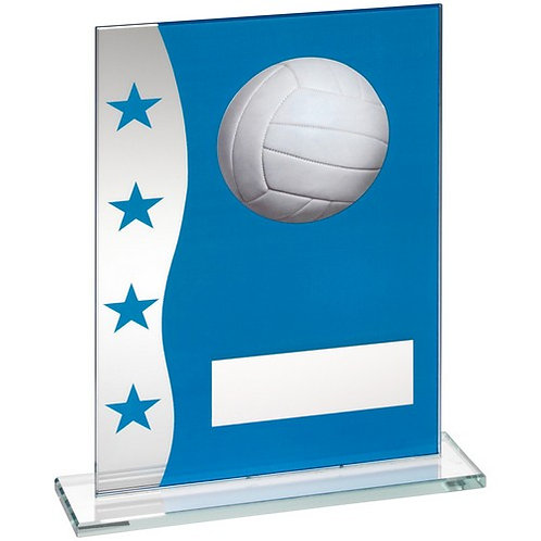 Blue/Silver Printed Glass Plaque With Netball Image Trophy - 184 mm