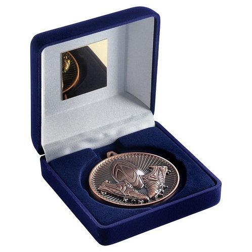 Blue Velvet Box And 60mm Medal Rugby Trophy Bronze - 102 mm