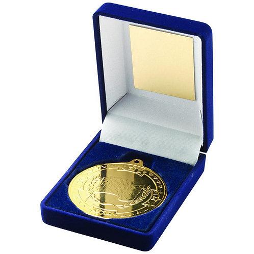 Blue Velvet Box And 50mm Medal Motor Sport Trophy Gold - 89 mm