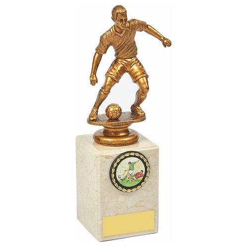 Antique Gold Male Footballer on Marble Column - 190mm