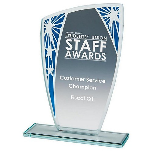 Budget Glass Stand with Blue Star Trim - 165mm