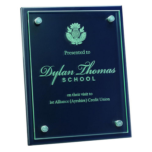 Blue Plaque With 6mm Glass Front - 178 x 229 mm