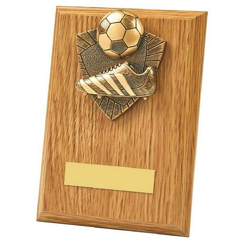 Boot/Ball Wood Plaque Award - 150mm