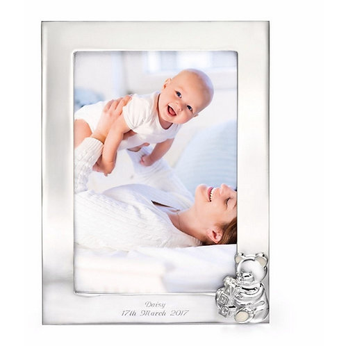 Teddies Photo frame richly plated ith silver.