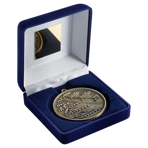 Blue Velvet Box And 60mm Medal Swimming Trophy Antique Gold - 102 mm