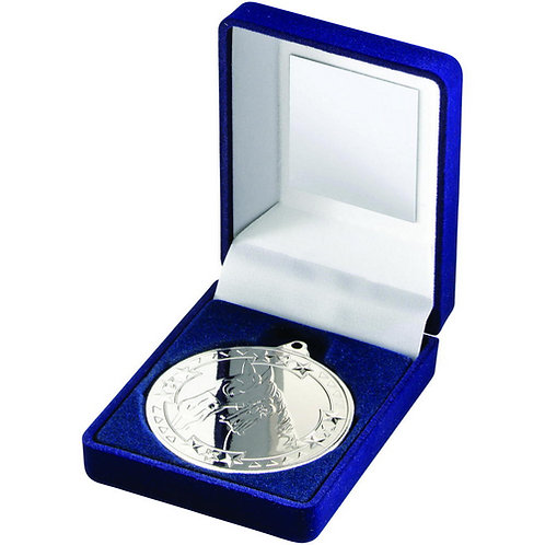 Blue Velvet Box And 50mm Medal Horse Trophy Silver - 89 mm