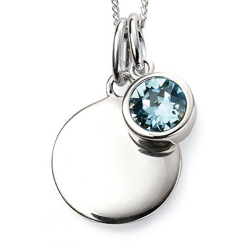 March Birthstone Pendant with engraved pendant