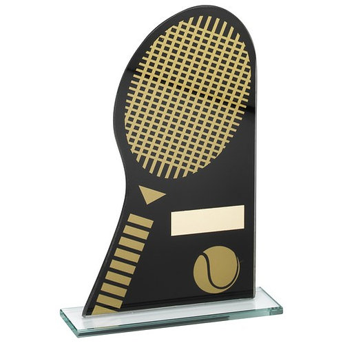 Black/Gold Printed Glass Plaque With Tennis Racket/Ball Trophy - 184 mm