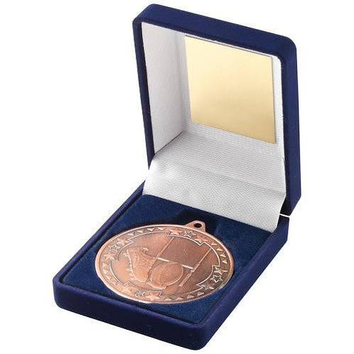 Blue Velvet Box And 50mm Medal Rugby Trophy Bronze - 89 mm