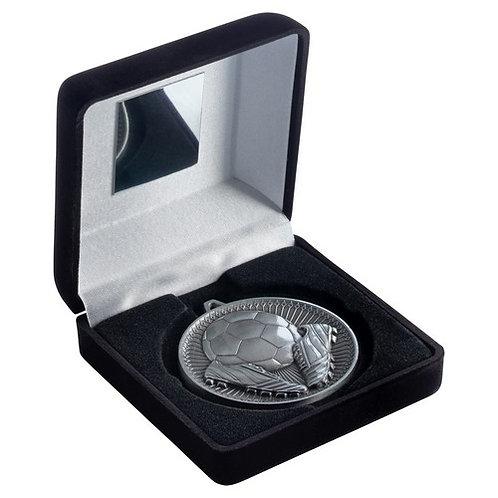 Black Velvet Box And 60mm Medal Football Trophy Antique Silver - 102 mm