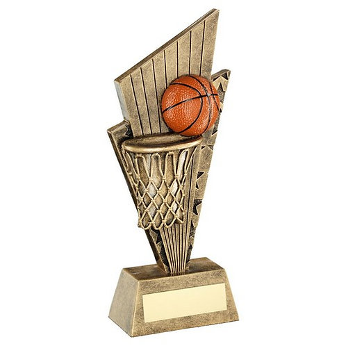 Basketball And Net On Pointed Backdrop Trophy - 152 mm