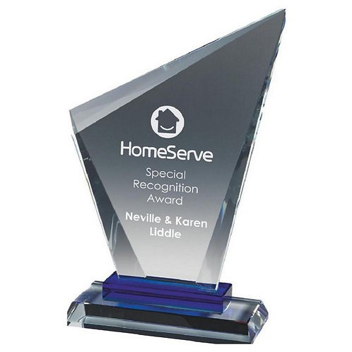 Clear Glass Stand with Blue Base - 170mm