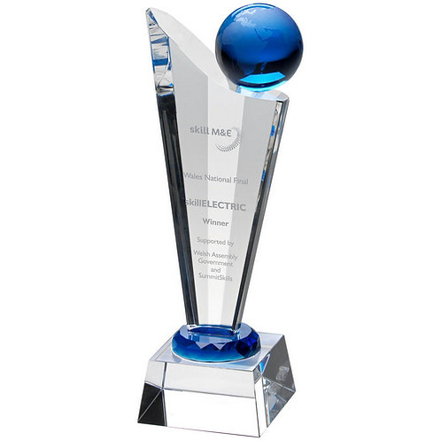 ClearGlass Victory Plaque With Blue Globe - 235 mm