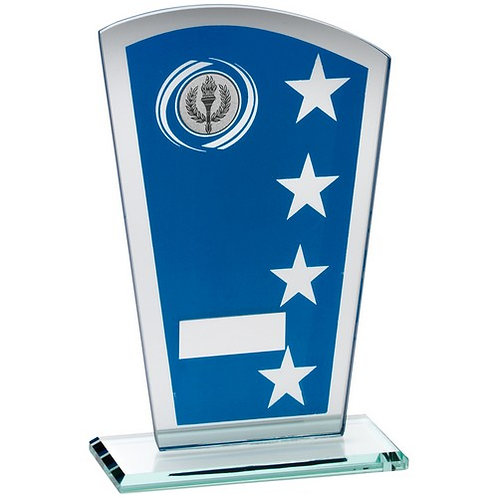 Blue/Silv Printed Glass Shield With Wreath/Star Design Trophy - 203 mm