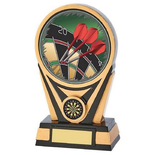 Black/Gold Resin Darts Trophy - 175mm