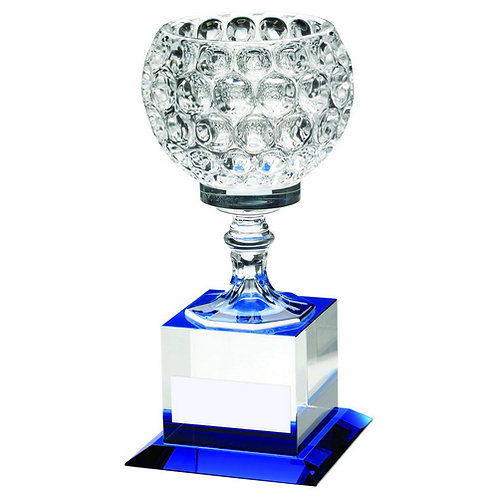 ClearGlass Goblet On Block Base Trophy - 235 mm