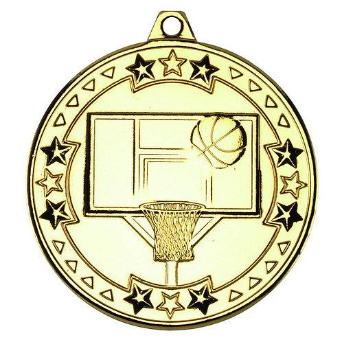 Basketball 'Tri Star' Medal - Gold  - 50 mm