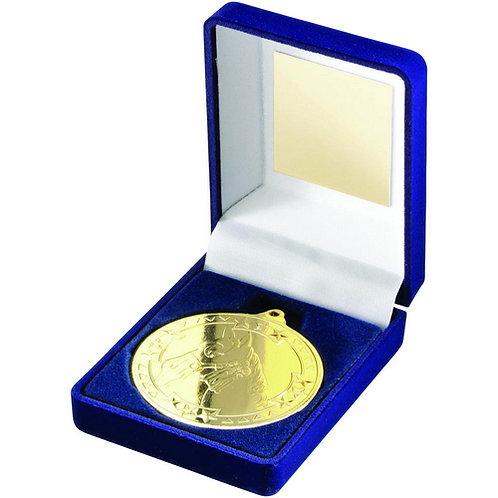 Blue Velvet Box And 50mm Medal Horse Trophy Gold - 89 mm