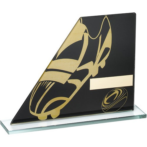 Black/Gold Printed Glass Plaque With Rugby Boot/Ball Trophy - 127 mm