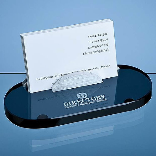 Smoked Glass Business Card Holder| Free Engraving
