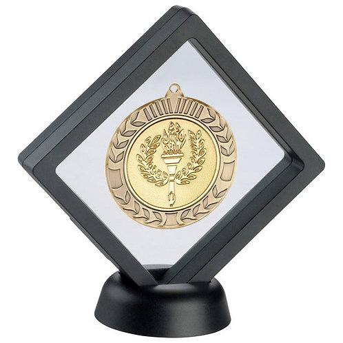 Black/Clear Plastic Medal Box With Stand - 152 mm