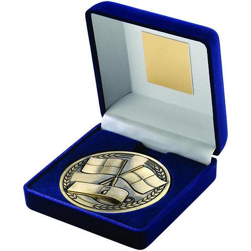 Blue Velvet Box And Medallion Referee Trophy Antique Gold - 102 mm
