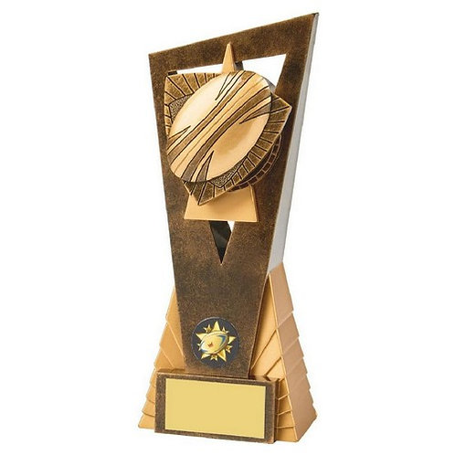 Antique Gold Rugby Ball Edge Award - 210mm