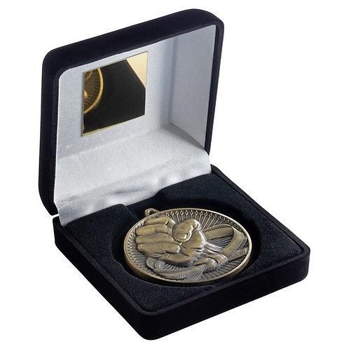 Black Velvet Box And 60mm Medal Martial Arts Trophy Antique Gold - 102 mm