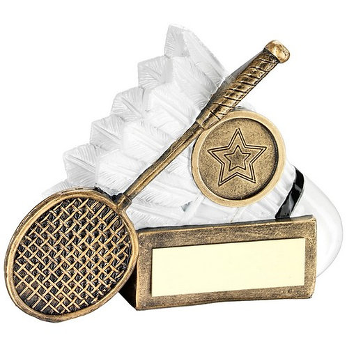 Brz/White Badminton Shuttle And Racket Chunky Flatback Trophy - 83 mm