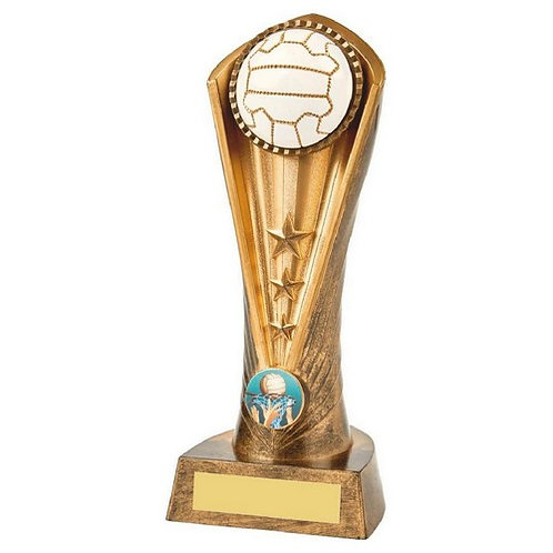 Antique Gold Netball Cobra Trophy - 210mm