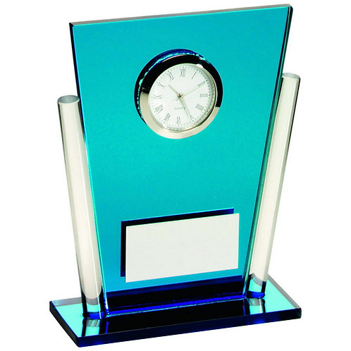 Blue/ Tapered Rectangle Clock Trophy - 133 mm