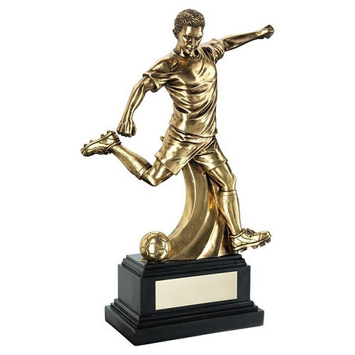 Antique Gold Premium Male Football Figure On Black Base Trophy - 305 mm