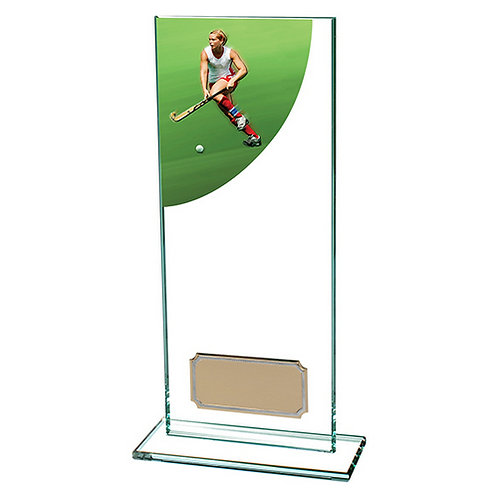 Colour Curve Hockey Jade Glass Award - 200mm