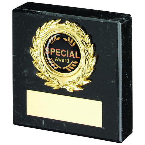 Black Marble And Gold Trim Trophy - 76 mm