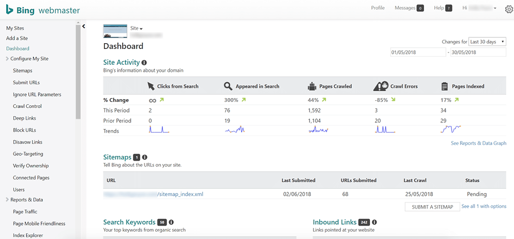 CellBox Working Web can access your Bing Webmaster Tools from it's dashboard