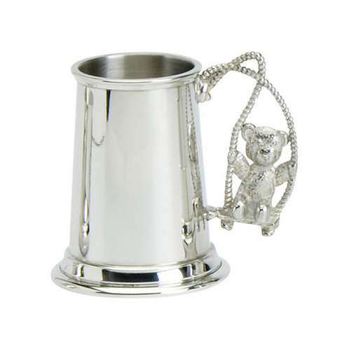Childs Cup | Teddy on Swing | Pewter | Free Engraving