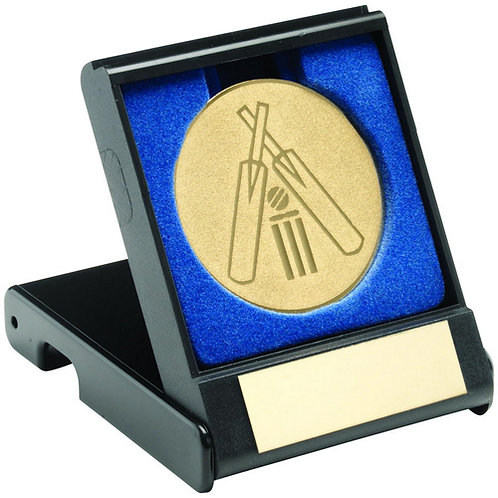 Black Plastic Box With Cricket Insert Trophy Gold - 89 mm