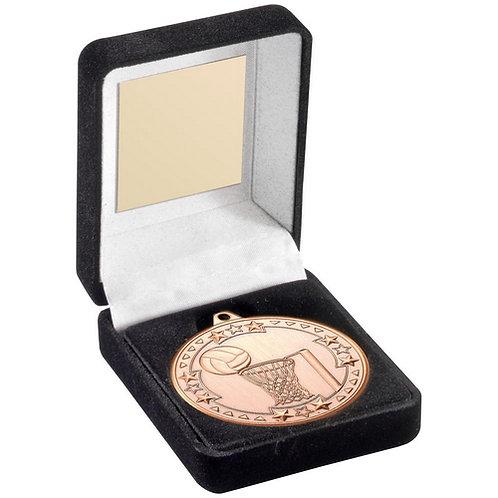Black Velvet Medal Box And 50mm Medal Netball Trophy Bronze - 89 mm