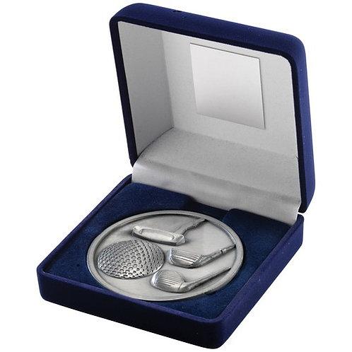 Blue Velvet Box And 70mm Medallion Golf Trophy Antique Silver - 102 mm