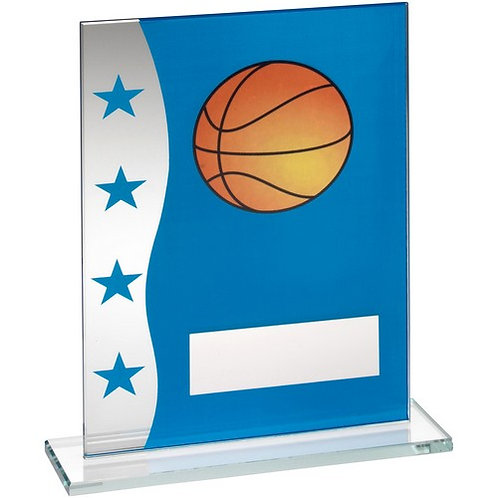 Blue/Silver Printed Glass Plaque With Basketball Image Trophy - 203 mm