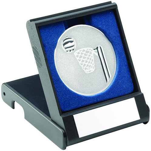 Black Plastic Box With Netball Insert Trophy Silver - 89 mm