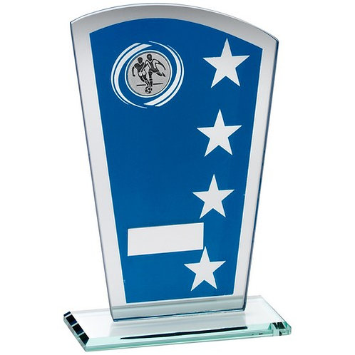Blue/Silver Printed Glass Shield With Football Insert Trophy - 184 mm