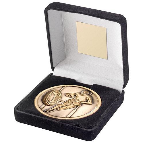 Black Velvet Box And 70mm Medallion Rugby Trophy Antique Gold - 102 mm
