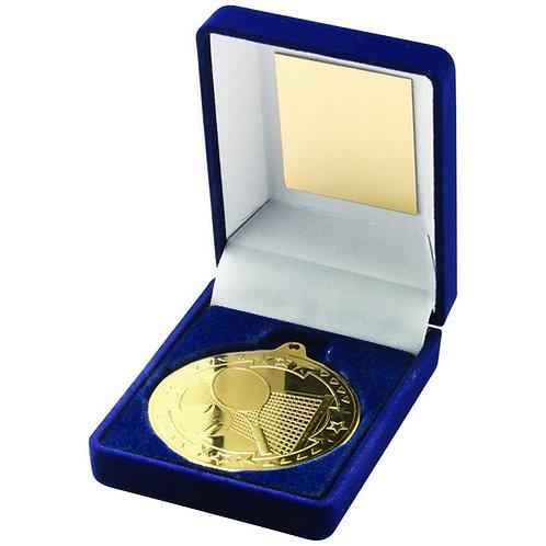 Blue Velvet Box And 50mm Medal Tennis Trophy Gold - 89 mm