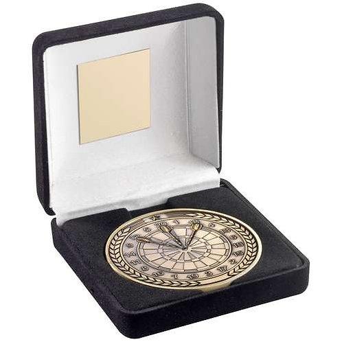Black Velvet Box And 70mm Medallion Darts Trophy Antique Gold - 102 mm